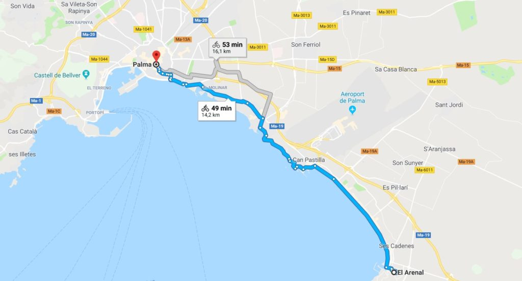 Palma de Mallorca na rowerze - mapa